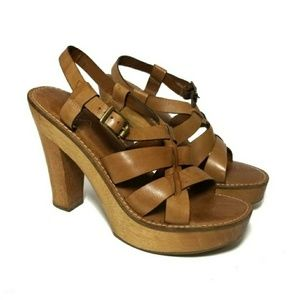 Mia Wooden Platform Strappy Leather Sandals Heels